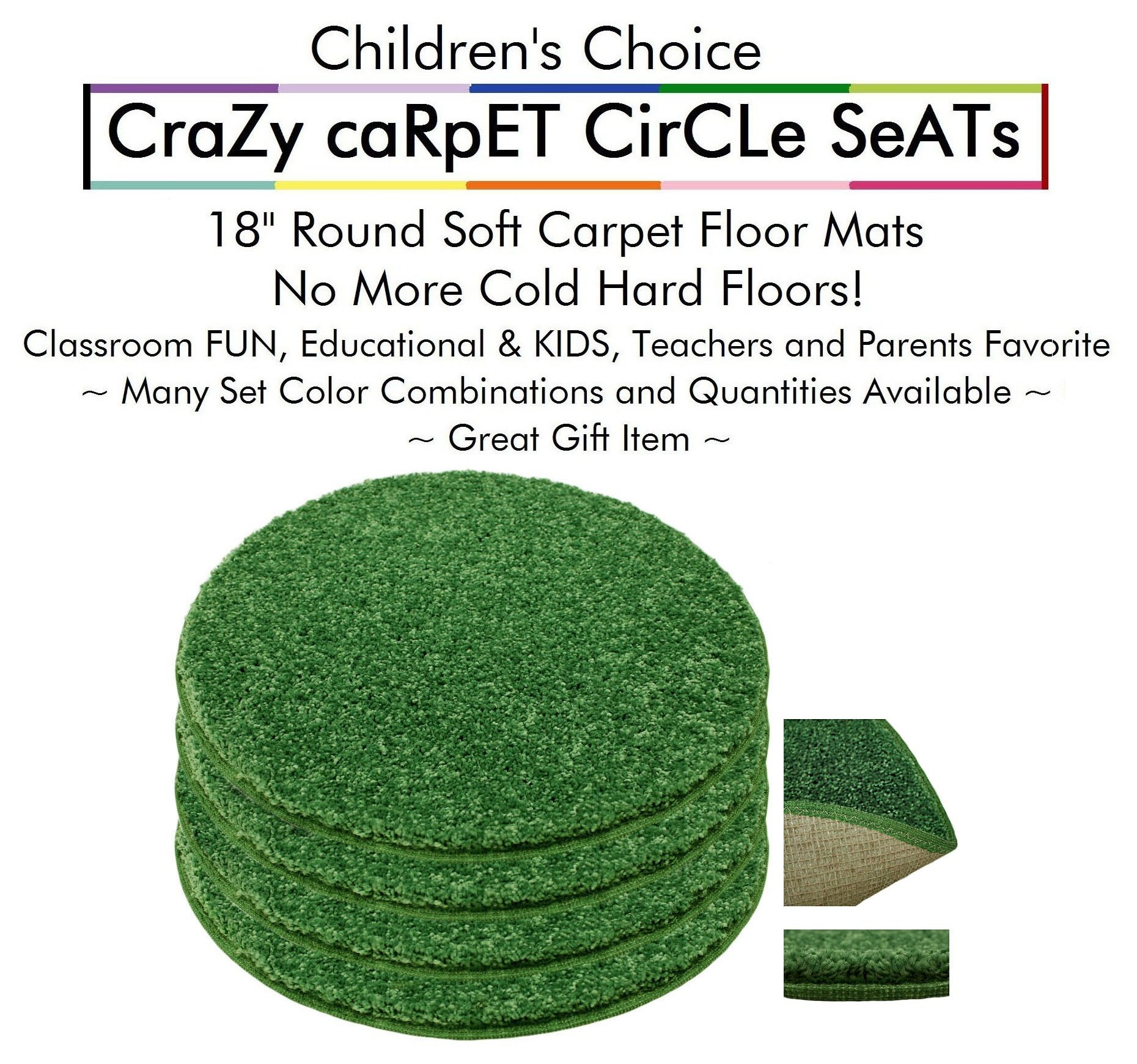 "Set 4 - Shamrock Kids CraZy CarPet CirCle SeaTs 18"" Round Soft Warm Floor Mat - Cushions 