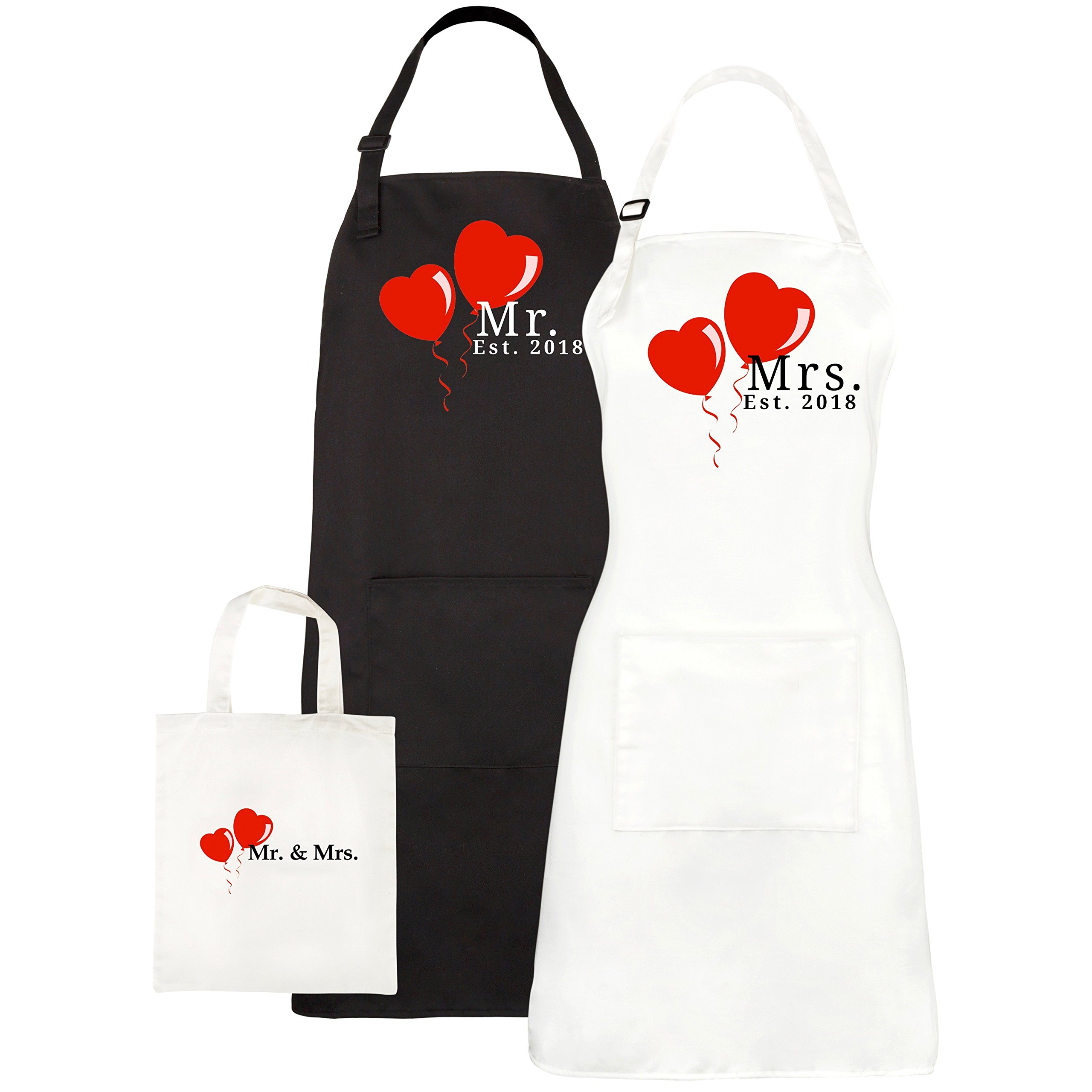Mr. and Mrs. Aprons Est. 2018, His Hers Wedding Gifts For Couples - Bridal Shower Engagement Gift Set - With Pocket and Gift Bag By Let the Fun Begin