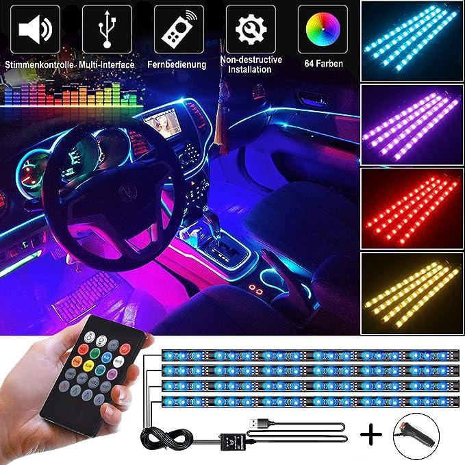 Gabriel Auto Led Innenbeleuchtung 4 Stück 72 Led Multicolor Musik Auto Innenbeleuchtung Unter Dash Lighting Kit Mit Sound Active Funktion Und Drahtloser Fernbedienung Dc 12v Auto