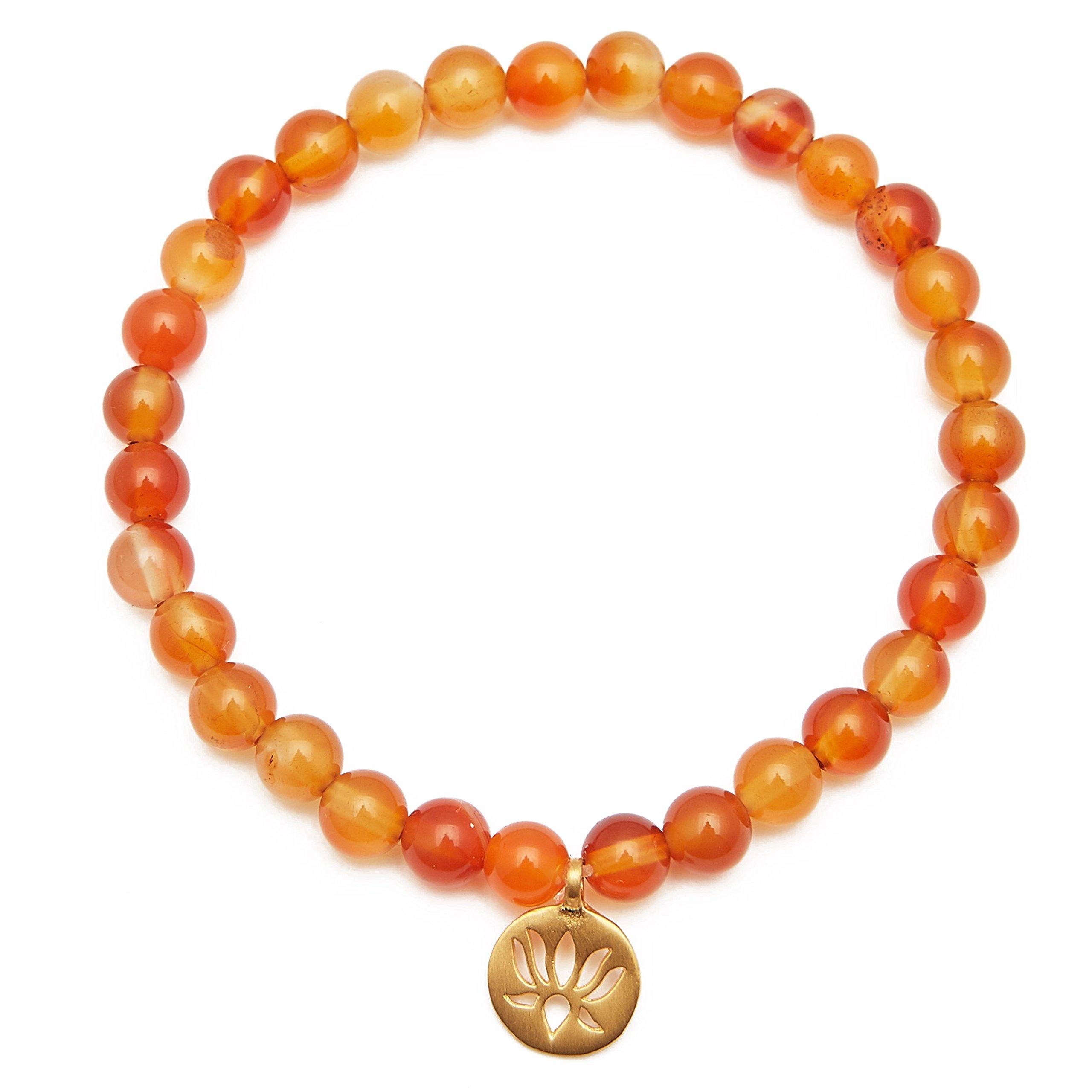 Inspirations By Satya Carnelian Gold Plate Lotus Stretch Bracelet (carnelian)