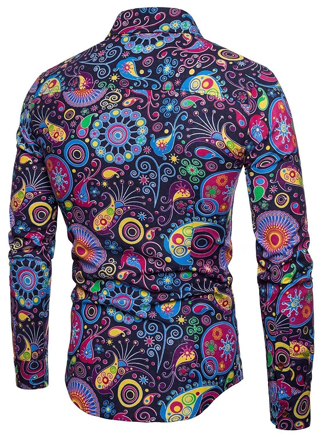 348d72c4aafb EMAOR Mens Stylish Floral Long Sleeve Shirt & Short Sleeve Shirt at Amazon Men's  Clothing store: