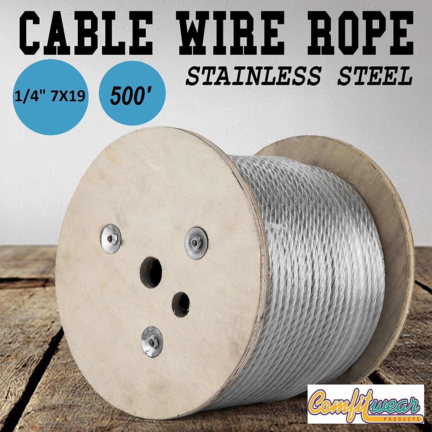 Comfitwear 1/4-in x 500-ft Galvanized Steel Aircraft Cable Wire ...