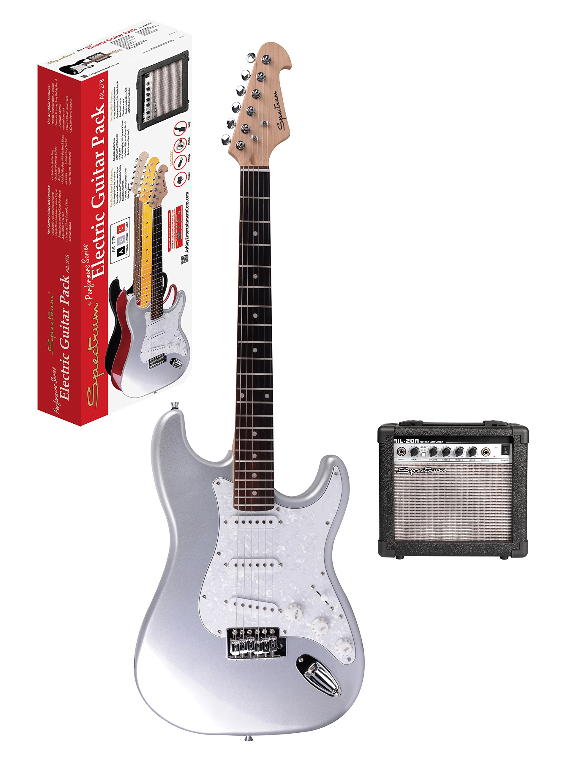Spectrum AIL 278B Electric Guitar Pack, Silver & White