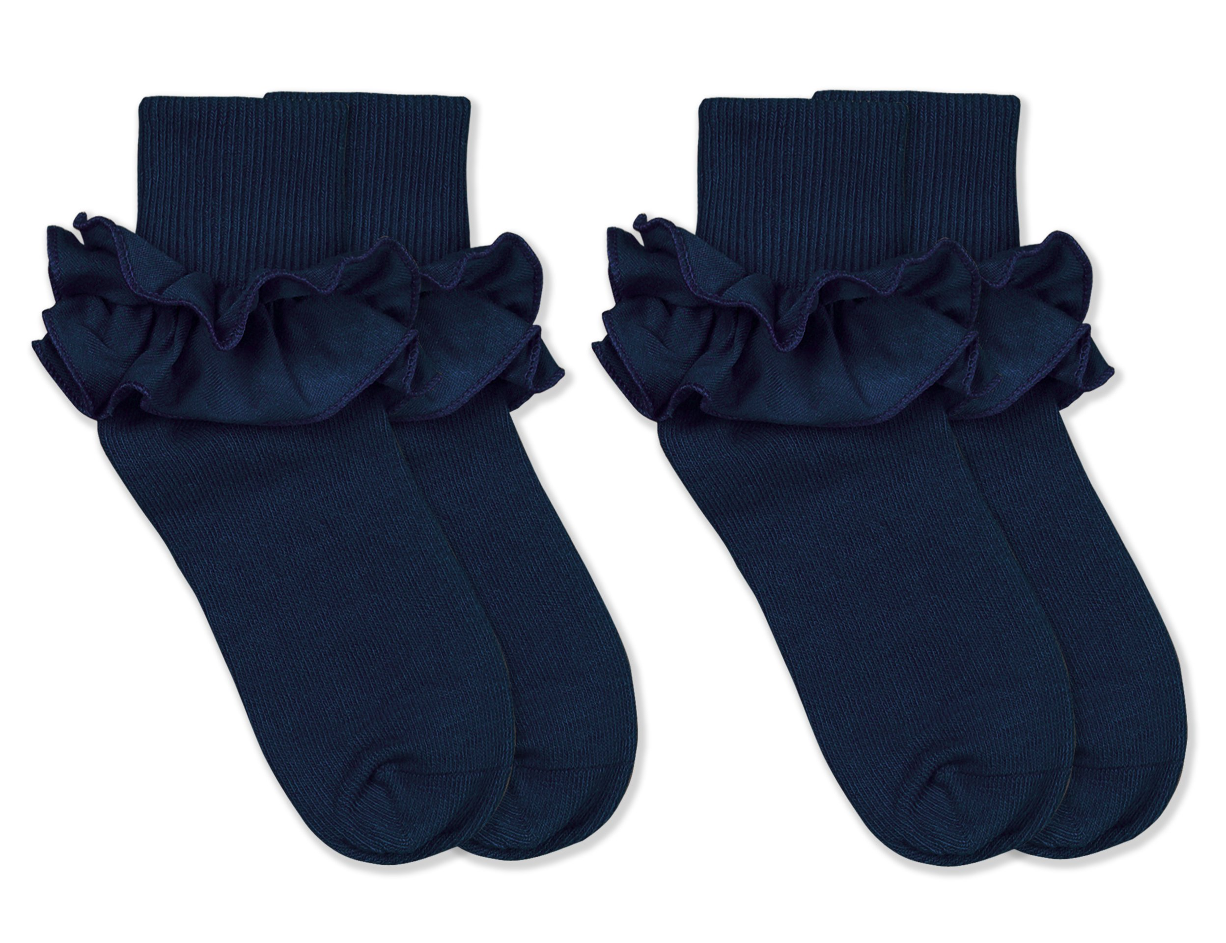 Jefferies Socks Girls Misty Ruffle Turn Cuff Socks 2 Pair Pack (S - USA Shoe 9-1 - Age 3-7 Years, Navy)