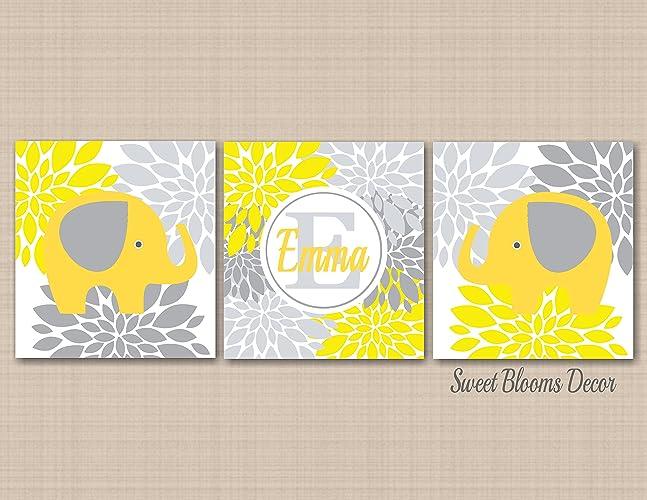 Amazon.com: Yellow Gray Elephant Nursery Wall Art,Yellow Gray ...