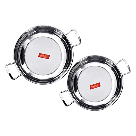 Sumeet Stainless Steel-Induction Encapsulated Bottom induction and Gas Stove Friendly Kadhai (Size no 12 - 1.9L and Size no 13- 2.3L) - Set of 2 Pot & Pan Sets at amazon