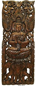 Asiana Home Decor Buddha Large Wood Wall Art Carved Wood Wall Panel in Dark Brown Finish, Size 35.5