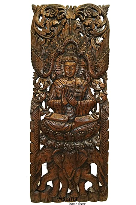 Buddha Large Wood Wall Art Carved Wood Wall Panel In Dark Brown Finish Size 35 5 X13 5 X1 Asiana Home Decor