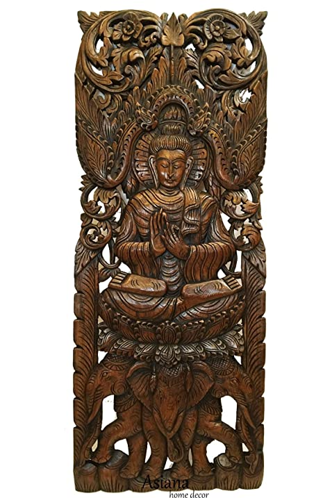 Amazon.com: Buddha Large Wood Wall Art Carved Wood Wall Panel in ...