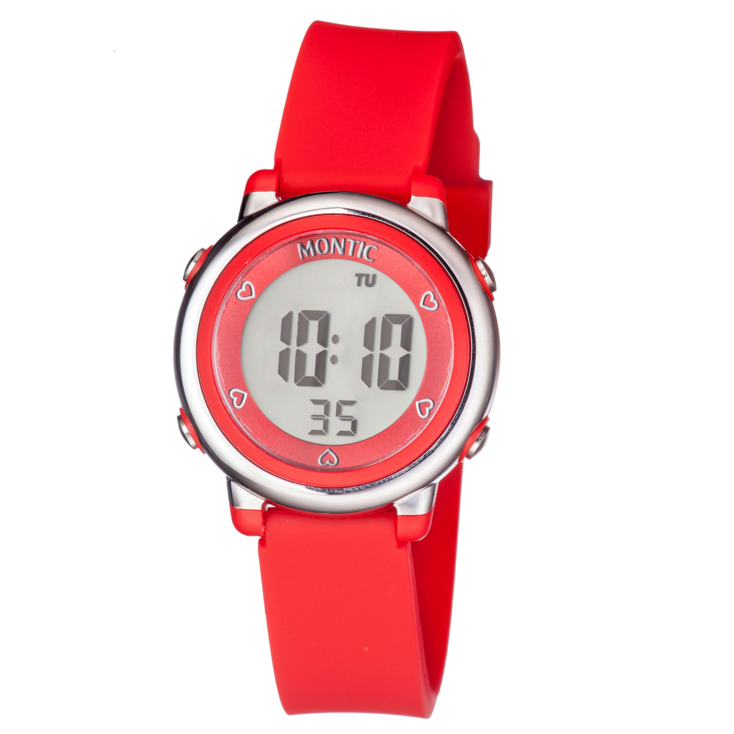 Montic Kids Red Digital Sports Multi Function Watch with Alarm and Stopwatch Functions