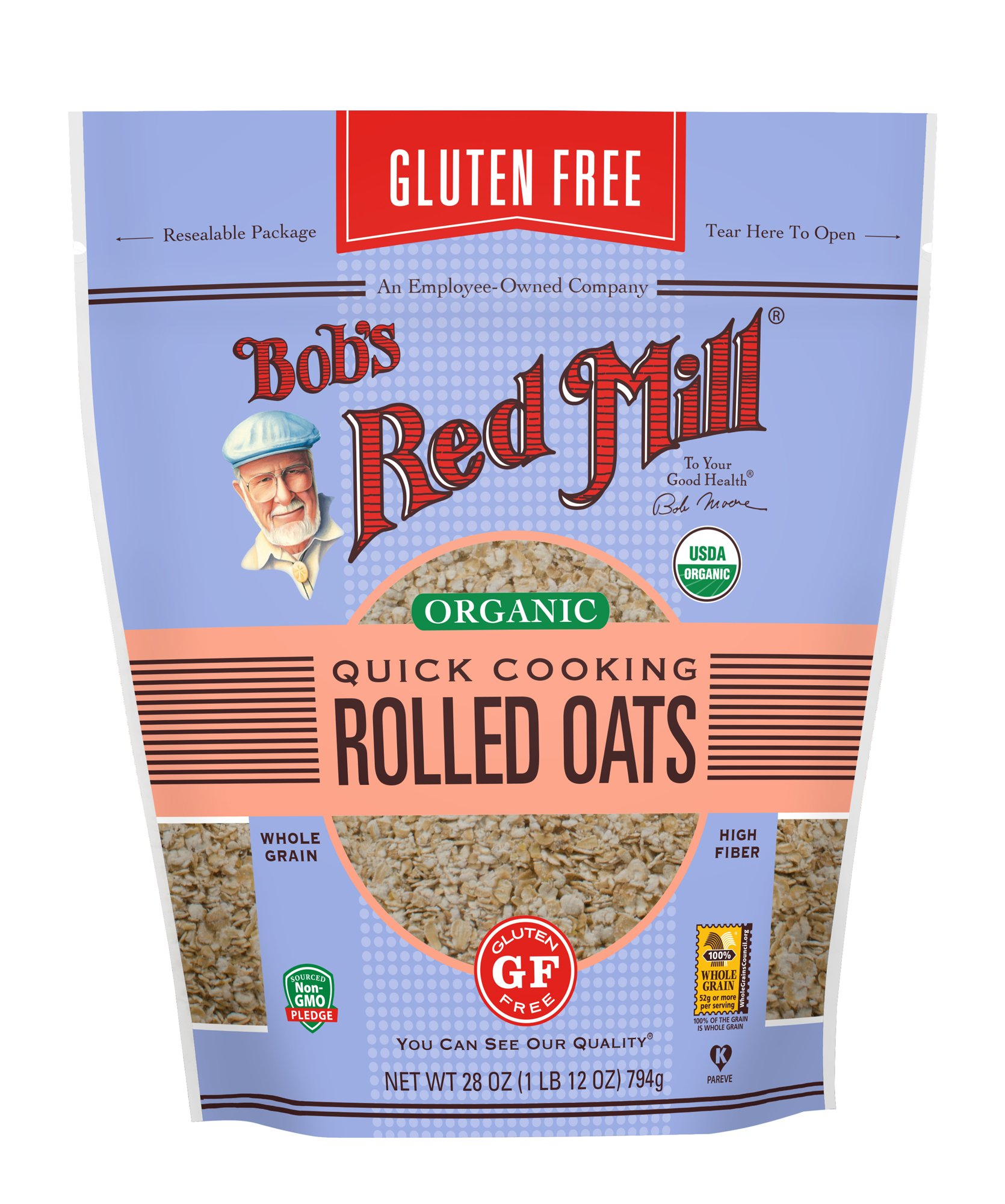 Bob's Red Mill (Resealable) Gluten Free Organic Quick Cooking Oats, 28-ounce (Pack of 4) by Bob's Red Mill (Image #2)