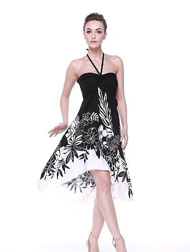 Vestito Dalle Donne di stile della farfalla hawaiano Bordo Floreale Bianco Nero