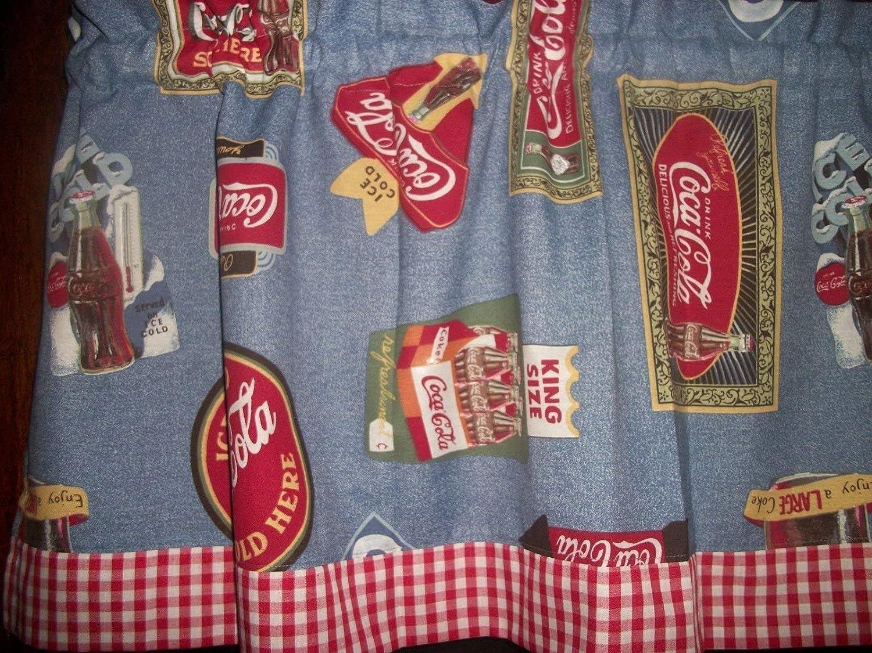Coca Cola Coke Red White Blue Checks curtain topper Valance apx. 42