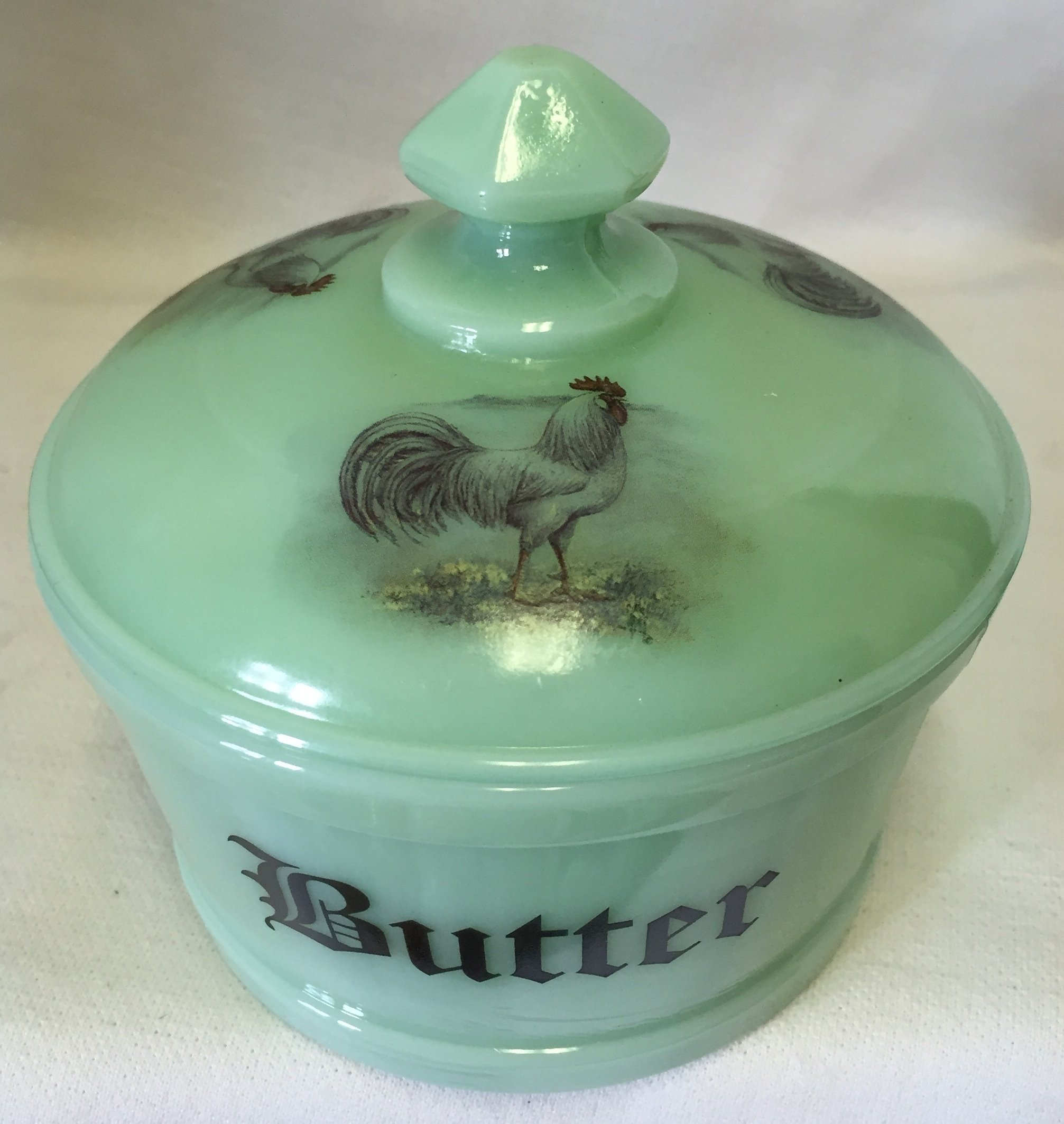 Butterdish / Butter Tub - ''Butter'' w/ White Leghorn Rooster Chicken - Jade Jadeite Jadite Green Glass - American Made