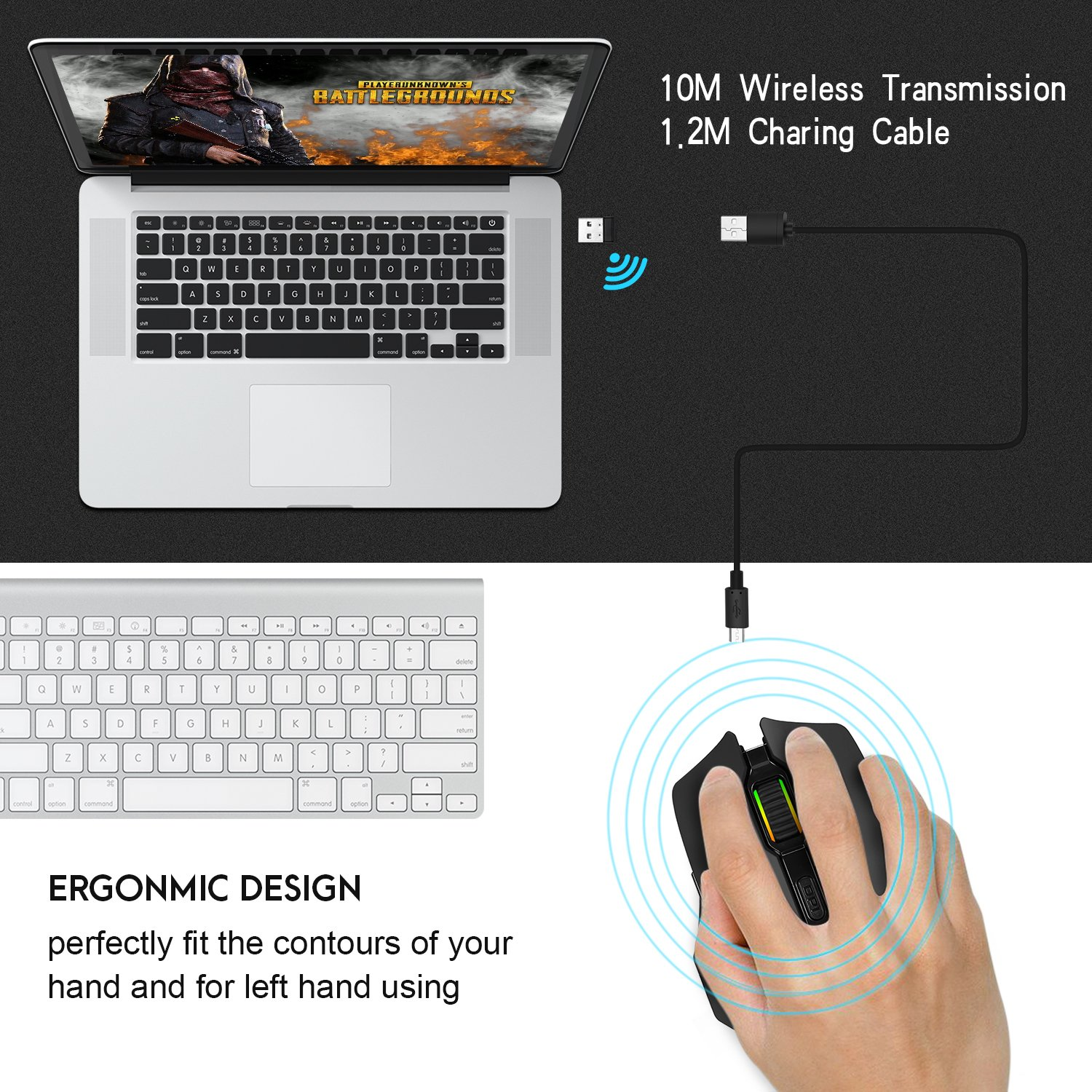 JinSun Rechargeable Laptop Wireless Gaming Mouse 2 in 1 Wireless & Wired Optical Mice with USB, 5 Buttons, 6 Colors Breathing Lights for PC and Mac, 6 Adjustable DPI Levels for Laptop Mac Pro and PC by JinSun (Image #5)