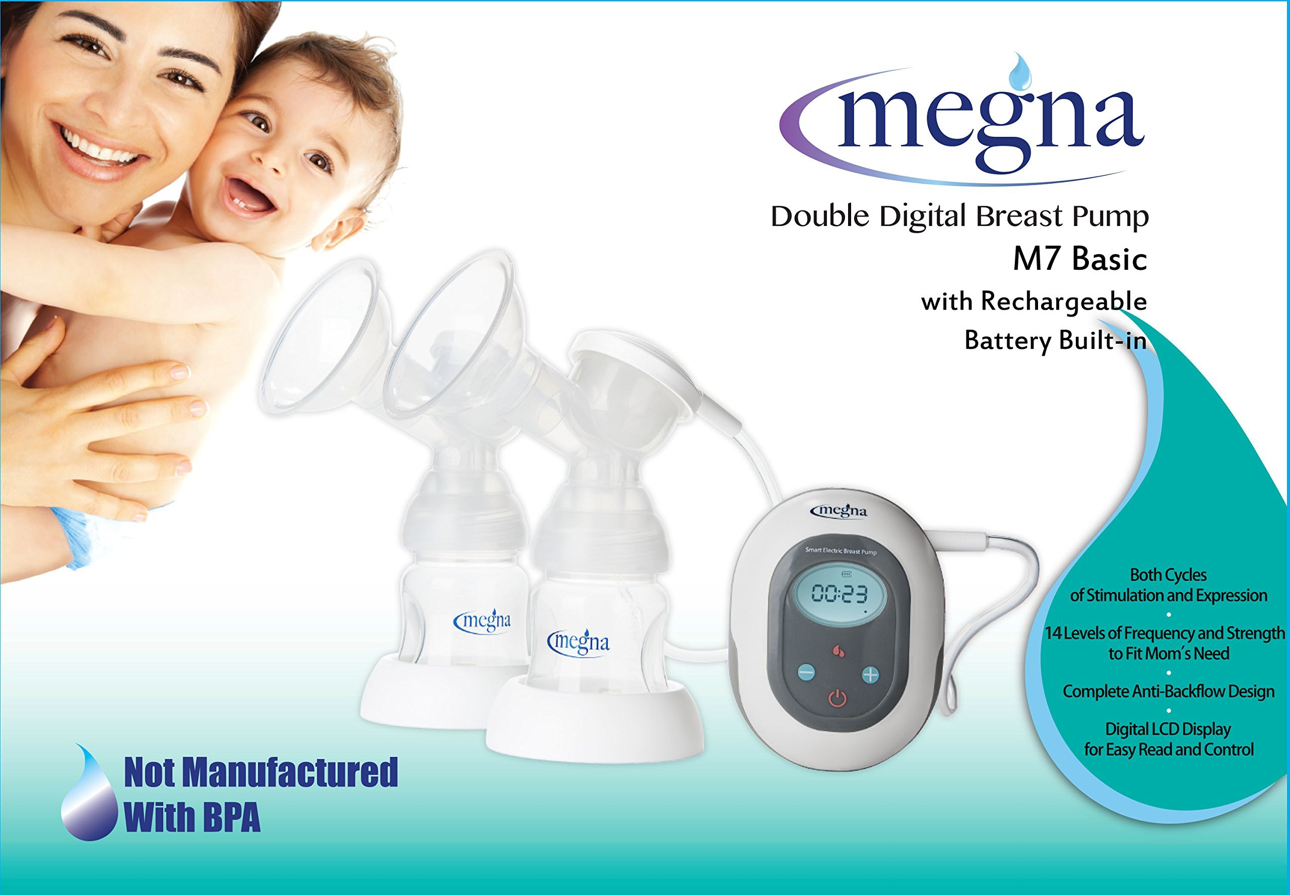 Megna Double Breast Pump M7 with Rechargeable Battery