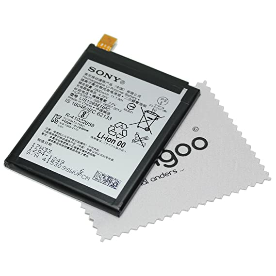 Akku für Sony Original 1294-1249 LIS1593ERPC für Sony Xperia Z5, Xperia Z5 Dual mit mungoo Displayputztuch