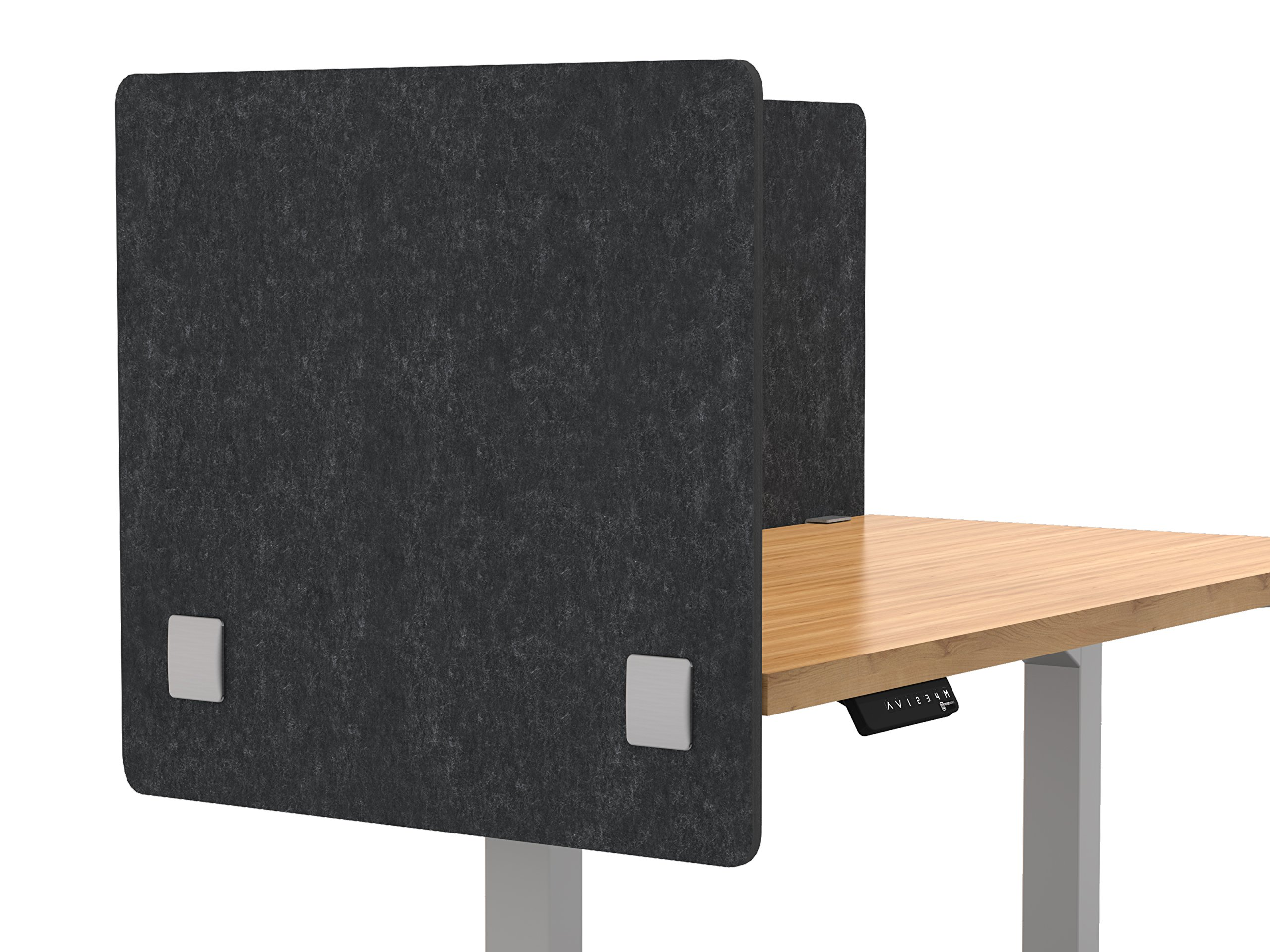 """VaRoom Acoustic Partition, Sound Absorbing Desk Divider – 24"""" W x 24""""H Privacy Desk Mounted Cubicle Panel, Charcoal Grey"""