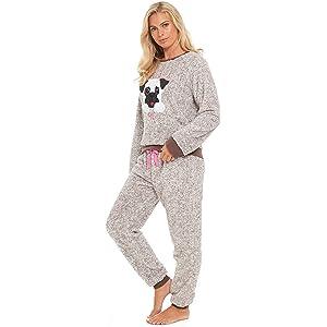 Damen Pyjama Schlafanzug Langarm pink grau Baumwolle Gr 36//38 40//42 44//46 48//50