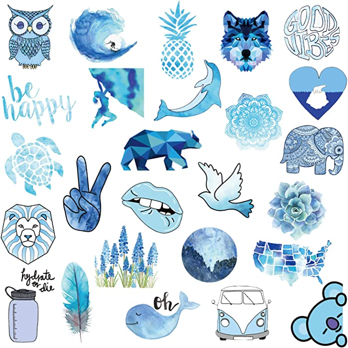 Stickers for Hydro Flask Blue, 50 Pcs VSCO Stickers, Stickers for Water Bottle, Laptop, Phone, Luggage, Skateboard, Guitar, Vinyl Stickers for Girls, Kids, Teens