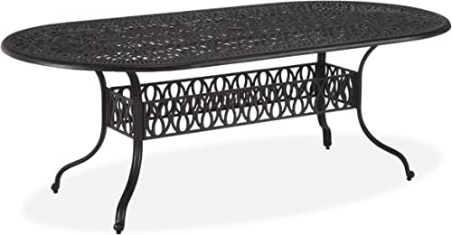 Floral Blossom Charcoal Oval Dining Table
