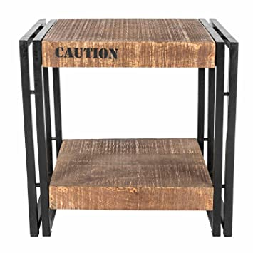 Homescapes Columbus Side Table Bedside Unit Industrial Reclaimed Wood  Furniture With Storage Shelf