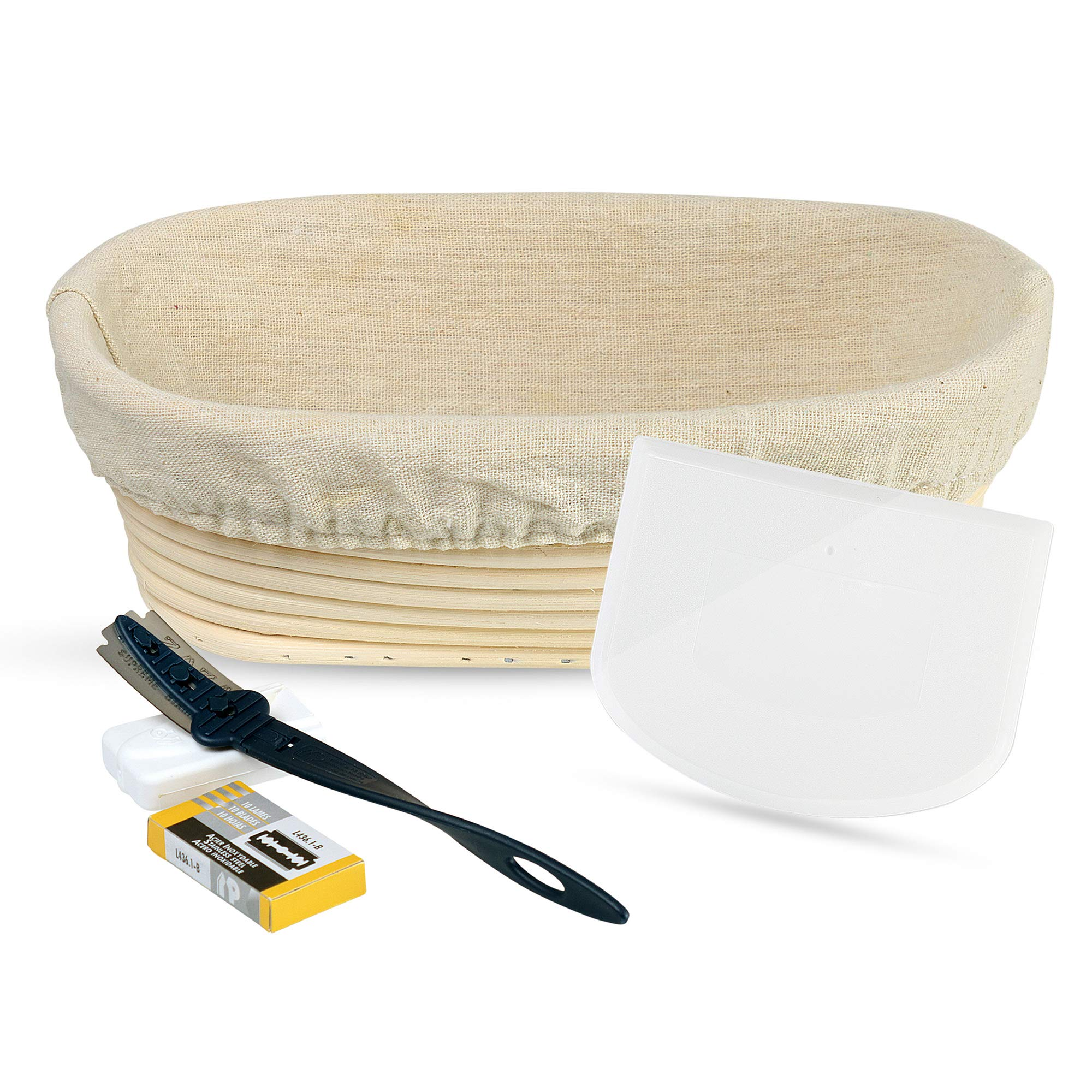 9 Inch Oval Banneton Bread Proofing Basket - 5-Piece Starter Set of Baking Tools with Natural Rattan Brotform, Cotton Liner, Bread Scoring Tool Lame, 10 Pk Blades, Flexible Food Grade Bowl Scraper by Bread Experience