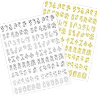 Mudder 216 Pieces 3D Flower Nail Art Stickers Decals Self-adhesive Nail Tips Decorations, 2 Sheet (Silver and Gold)