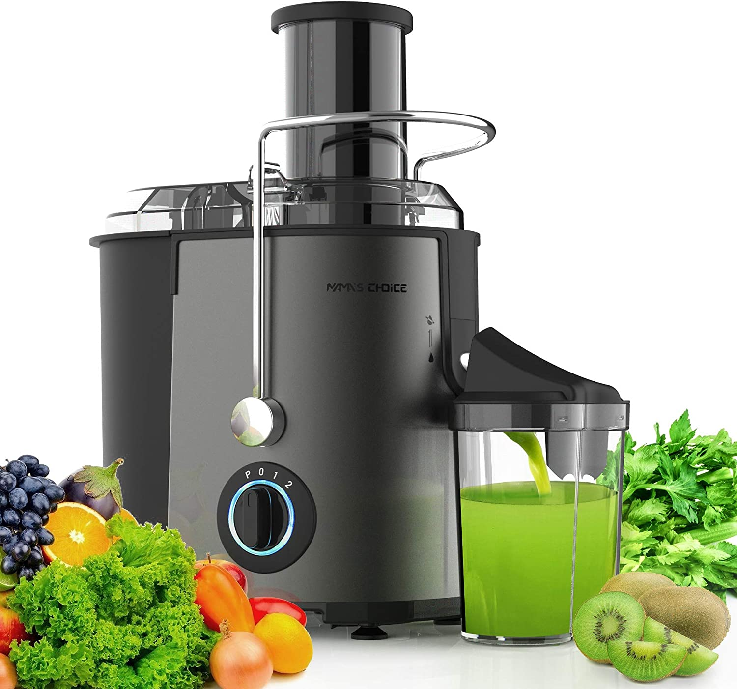 MAMA'S CHOICE Juicer Machine, 800W Juice Extractor with Big Feed Chute for Fruits Vegetables, Centrifugal Juicer, 3 Speed Control, Stainless Steel Juicer with Anti-drip Function, Dishwasher Safe, Gray