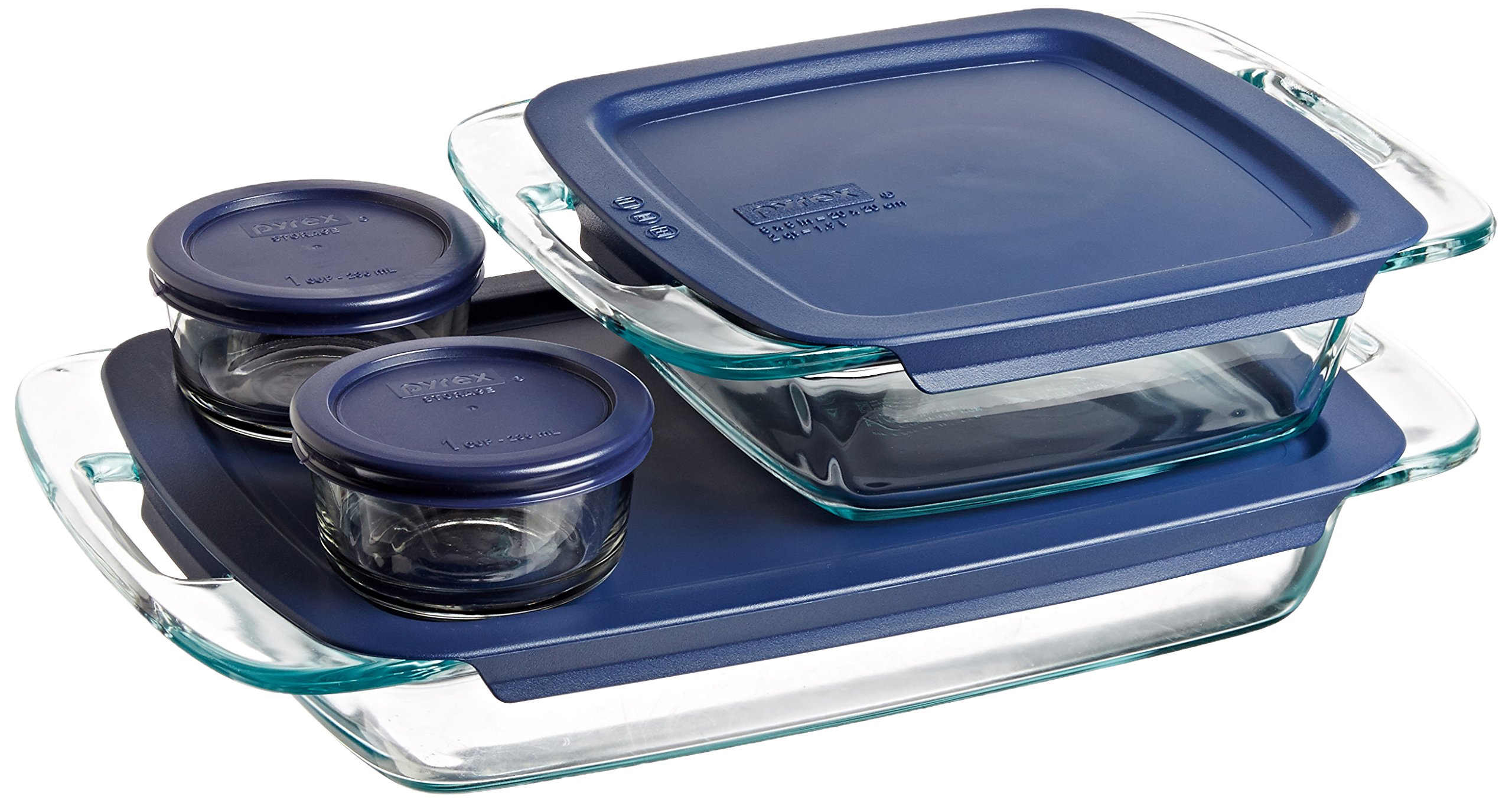 Pyrex 1093839 Easy Grab 8-Piece Glass Bakeware and Food Storage Set by Pyrex