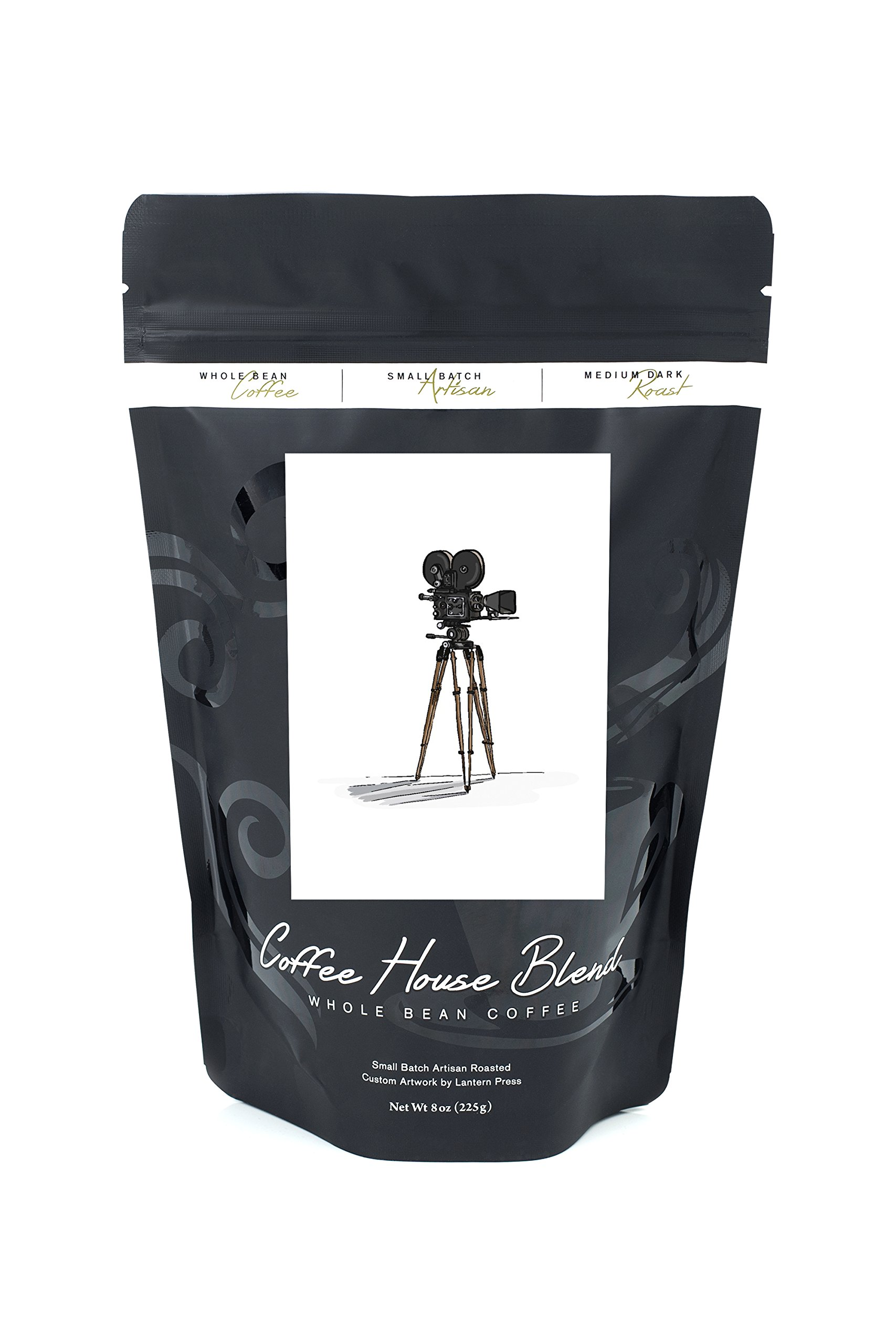 Movie Camera - Icon (8oz Whole Bean Small Batch Artisan Coffee - Bold & Strong Medium Dark Roast w/ Artwork)