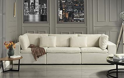 Large Classic Living Room Linen Fabric Sofa, 111.8\