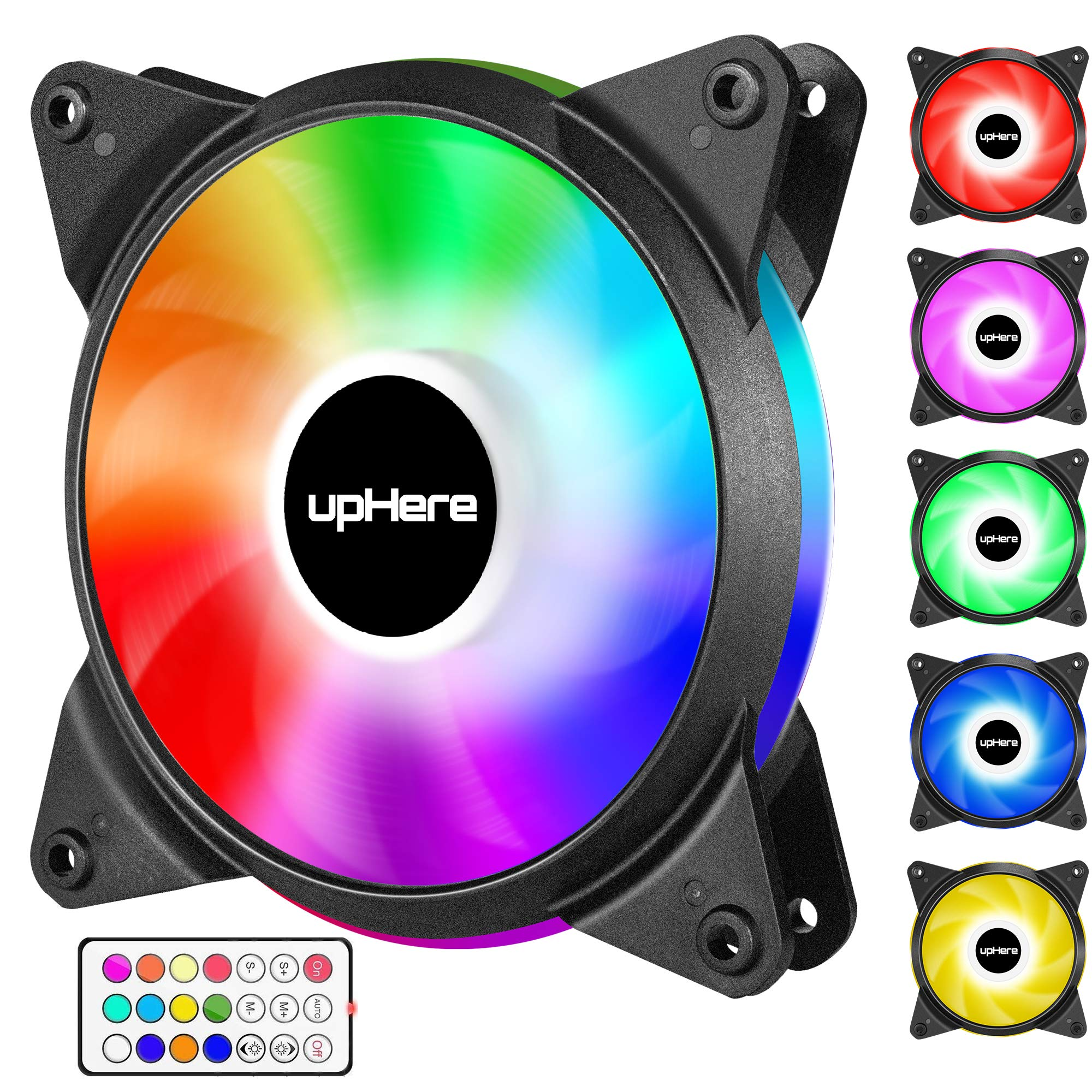 upHere 6-Pack 120mm Silent Intelligent Control Addressable RGB Fan Adjustable Colorful Fans with Controller and Remote,T6C63-6 by upHere (Image #2)