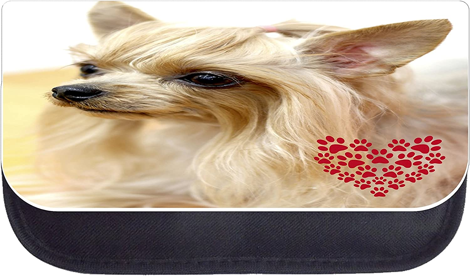 Red Paws Heart Blonde Chihuahua Girls Black Laptop Shoulder Messenger Bag and Small Wire Accessories Case Set