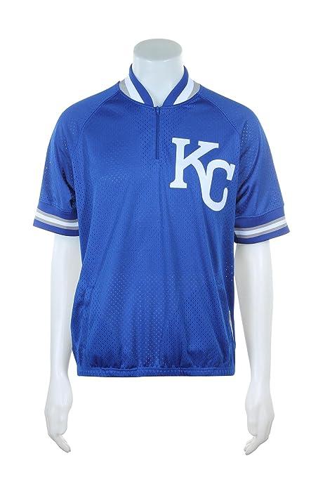 4c2d58664d2 Mitchell   Ness Kansas City Royals MLB Men s Authentic 1 4 Zip Batting  Practice Jacket