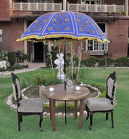 Lalhaveli Decorative Handmade Embroidery Design Cotton Large Umbrella Parasol 52 X 72 Inches
