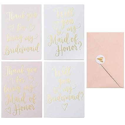 Amazon Com Bridesmaid Proposal And Thank You Card 24 Pack Bridal