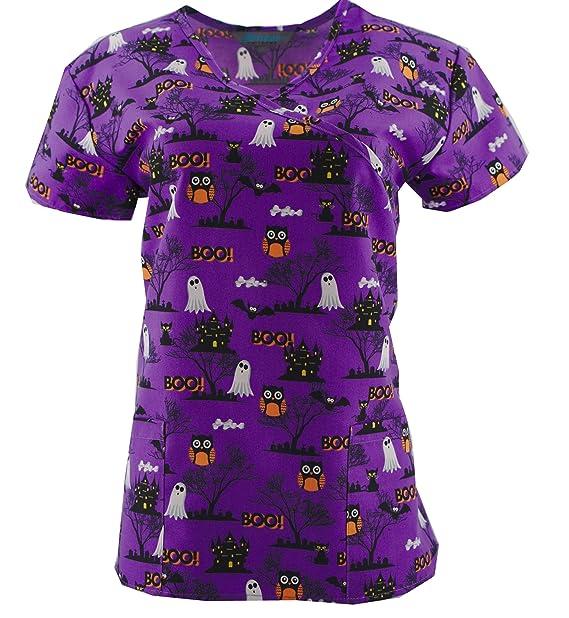 390b13bafeb Halloween Scrub Tops Holiday Prints Sizes XS-2XL Medical Nursing NWT (XS,  Tie