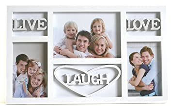 ehome direct live laugh love wall decor photo frame holds 3 photos white