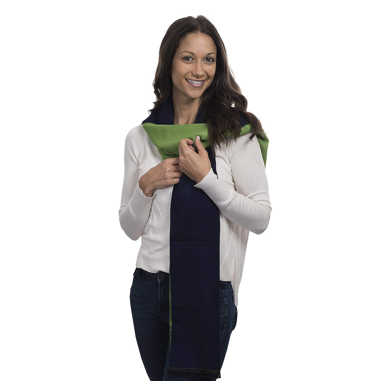 bluee & Green Cashmere&Class TwoTone Cashmere Scarf Reversible Trendy Warm Winter Wear, Women, Men