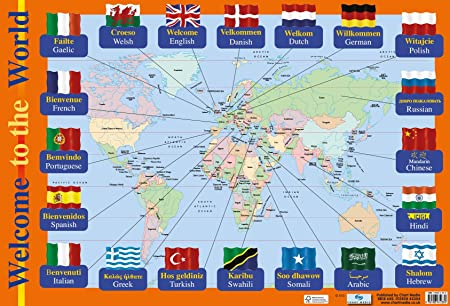 HOW TO SAY WELCOME World Map Poster / Wall Chart for Schools ...
