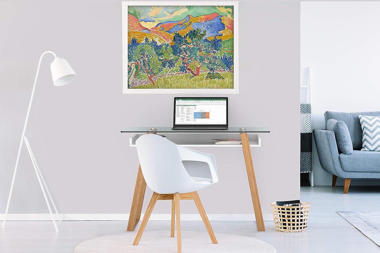 Mesa de estudio contemporánea con madera natural y estante inferior lacado.