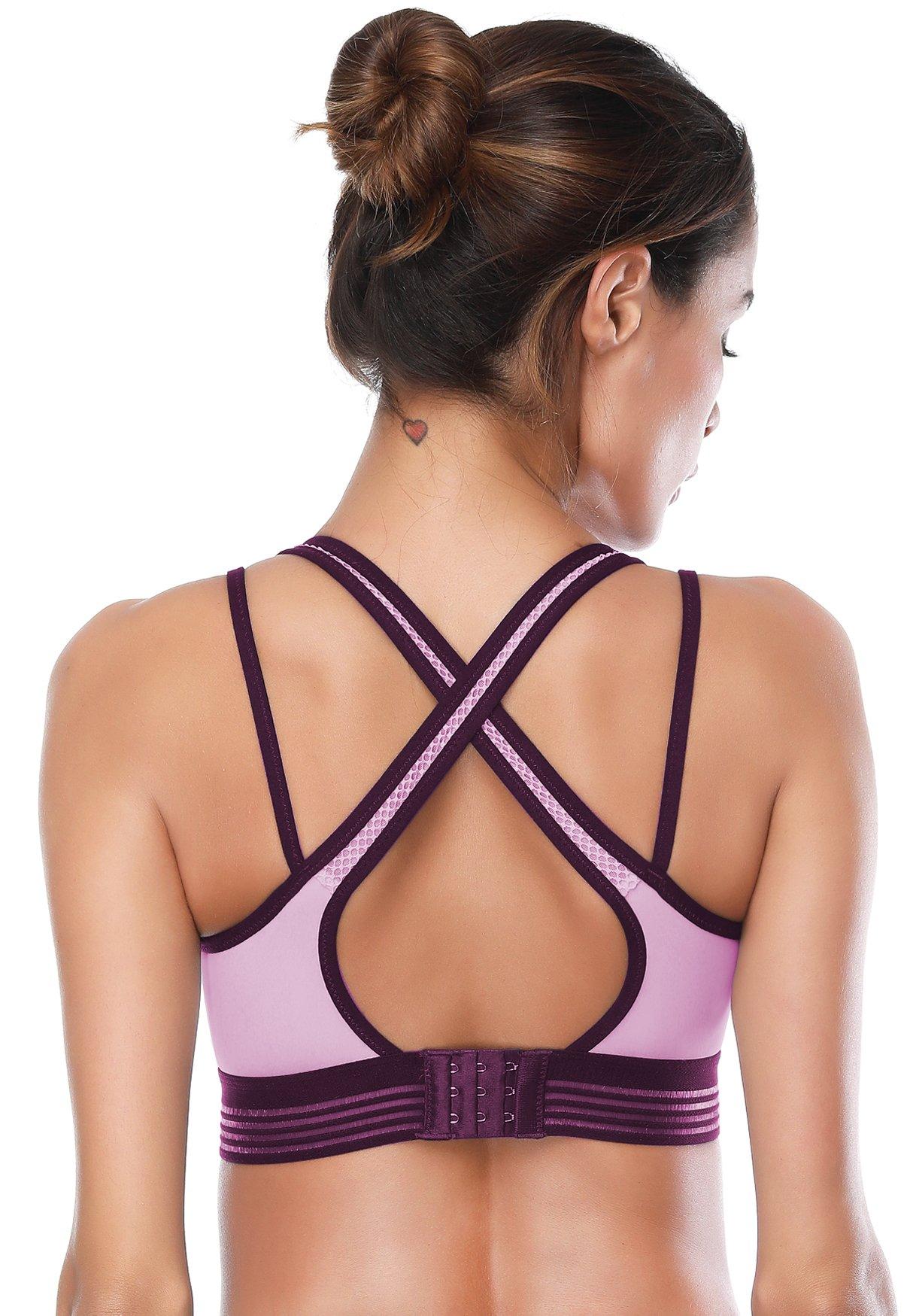 SIMIYA Sports Bra, Cross Back PaddedActivewear Gym BraWorkout Clothesfor Women(Purple, Small)