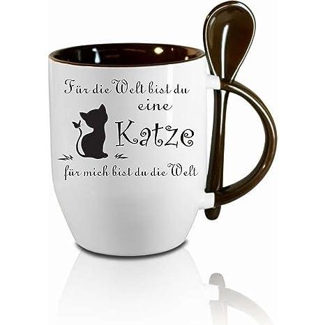 """Taza M. Cuchara """"para el mundo, eres un gato."""