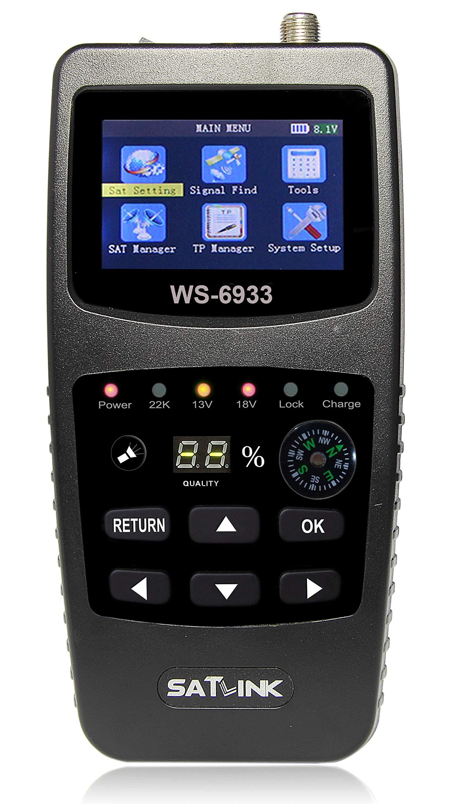 MeterTo Digital LCD Satellite Finder Compass Satellite Meter Detector WS-6933 DVB-S/S2 Compliant Terrestrial Signal Meter Receiver 950~2150MHz -65~-25dBm DISEQC 1.0/1.1,0/22khz USB by MeterTo