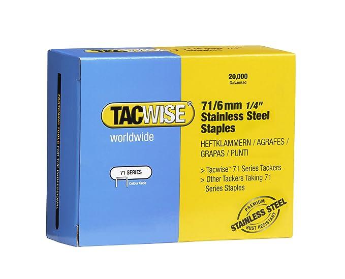 Tacwise 1014 Grapas de acero inoxidable de tipo 71/6 mm Set ...