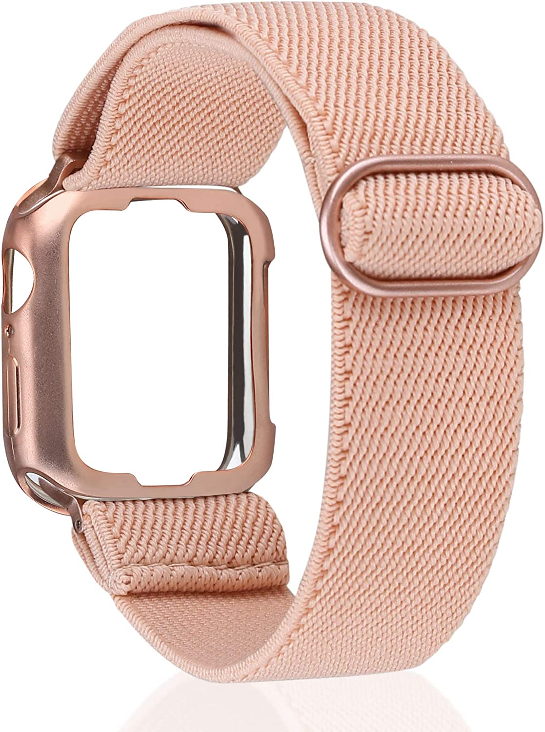 TOYOUTHS Compatible with Apple Watch Band Solo Loop Stretchy with Protective Case Adjustable Elastic Soft Nylon Scrunchies Band with Protector Case for iWatch Series SE/6/5/4/3/2/1 38/40MM