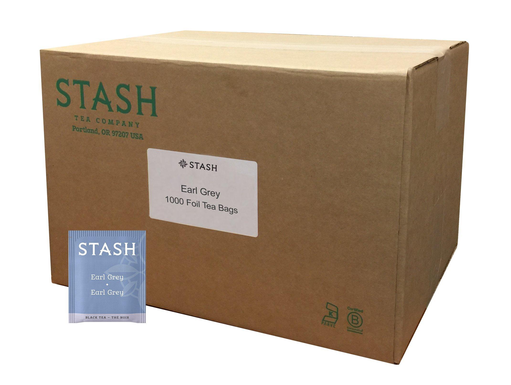 Stash Tea Earl Grey Black Tea, 1000 Count Tea Bags in Foil Full Caffeine Tea, Black Tea with Bergamot, Enjoy Hot or Iced