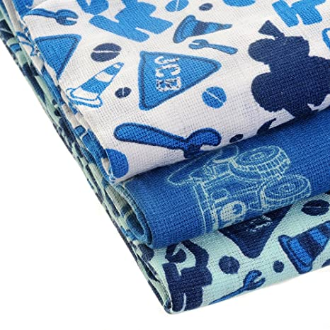 JCB de la muselina con estilo diseño de cuadrados de estilo diseño con motivos geométricos a los azules (, 3 paquetes de, y cuchillo en estuche regalo ...