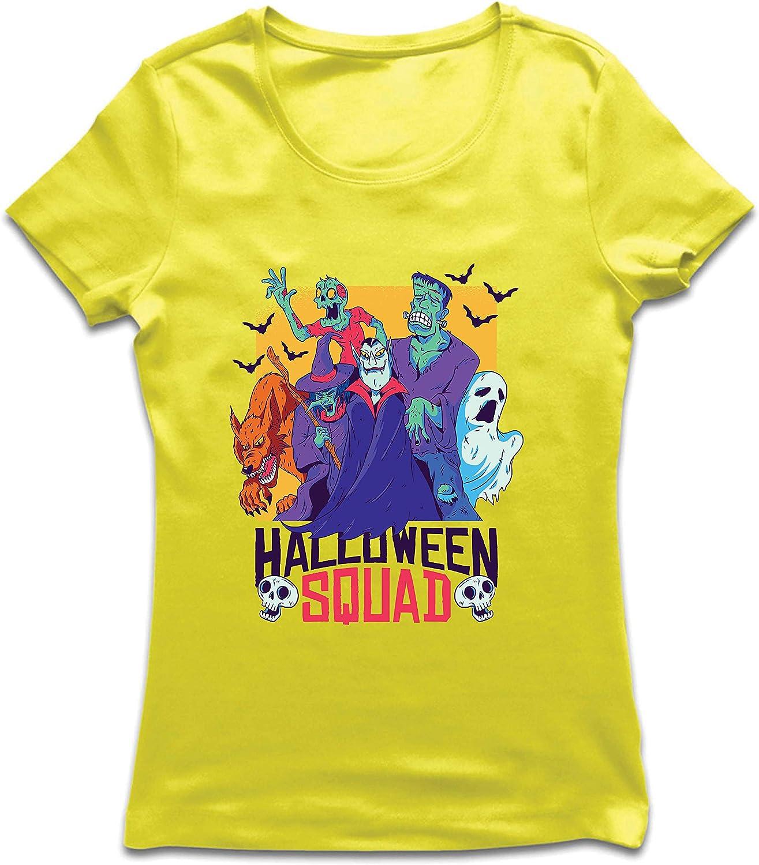 lepni.me Camiseta Mujer Escuadrón de Halloween - Vampiro, Fantasma, Hombre Lobo, Bruja, Zombie: Amazon.es: Ropa y accesorios